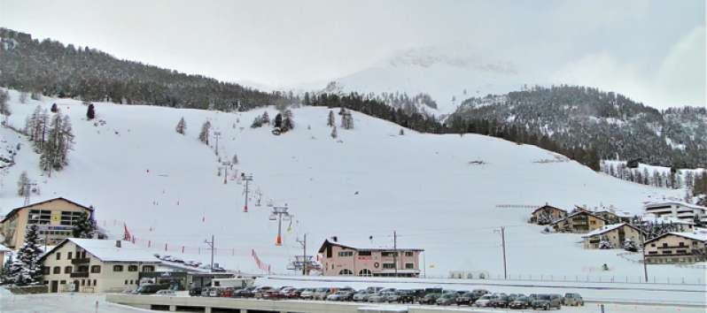 panoramic view from the apartment in Saint Moritz