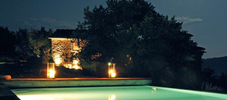 Villa Dionisio magical lighting in the garden and pool area