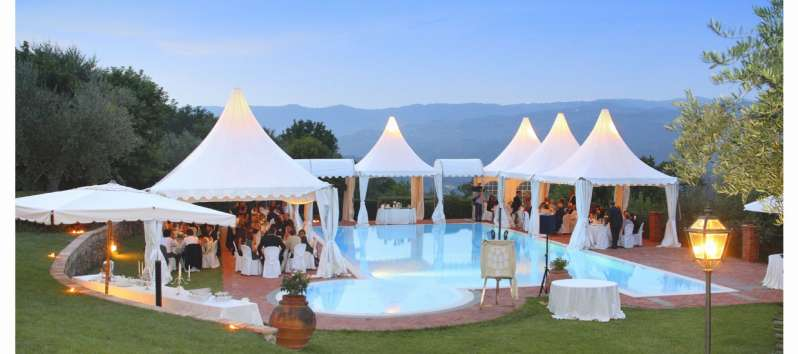 Villa Luna gazebos by the pool for a party