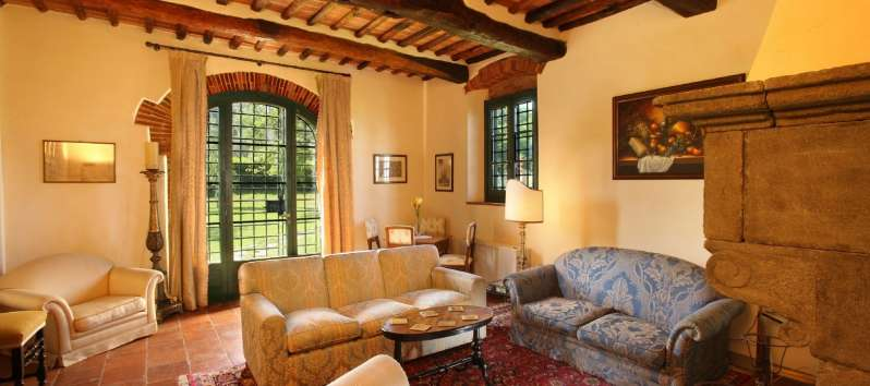 Villa Luna living room completely restored and furnished with taste