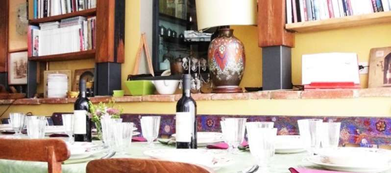 Villa rustica table set for supper