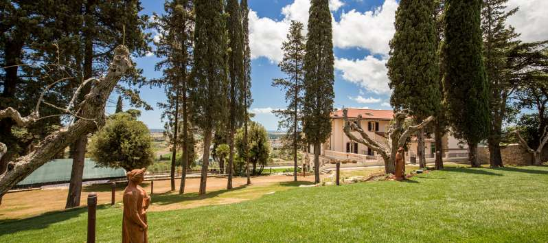 Large garden with cypress trees in a luxurious villa