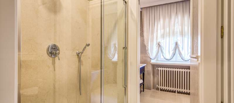 Glass shower in luxury private bathroom