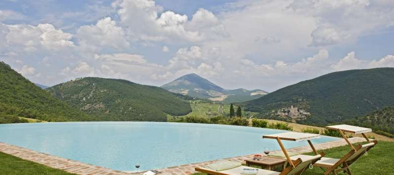 view from the pool of the villa in Perugia