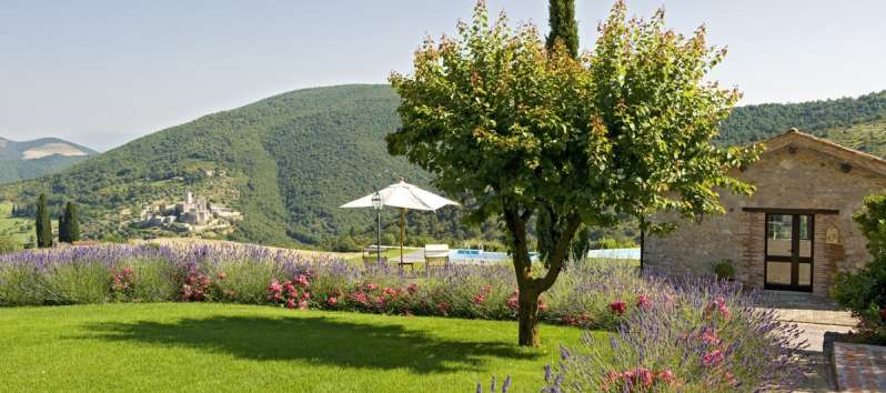 private garden of the villa with pool in Perugia