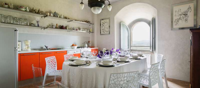 dining room with window in the villa of Perugia